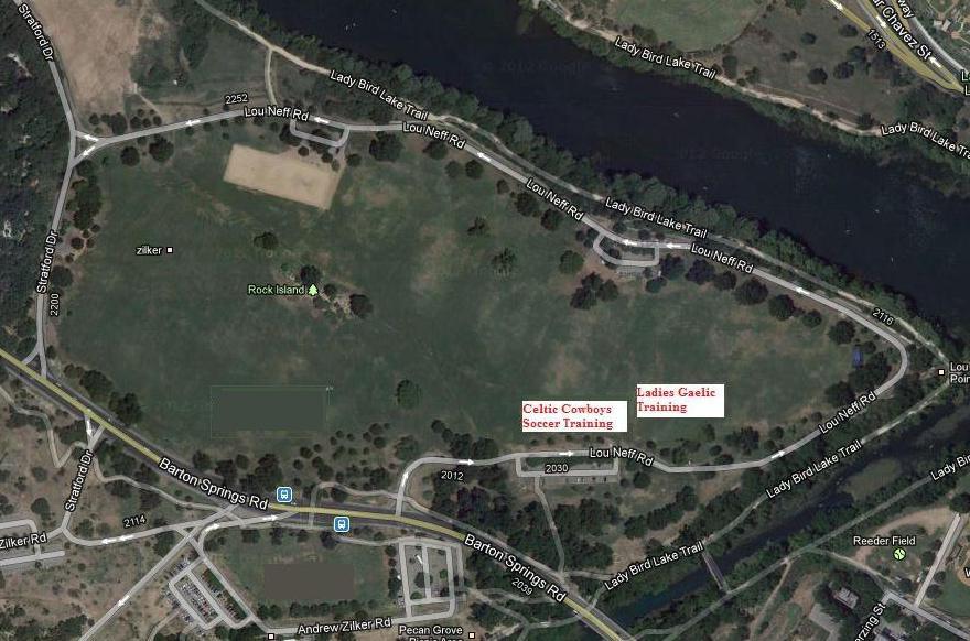 Celtic Cowboys Zilker Park Training Map